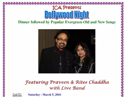 eventmozo Bollywood Night - Featuring Praveen & Ritee Chaddha with Live Band