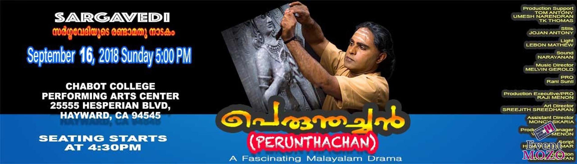 EventMozo Malayalam Drama Perunthachan by Sargavedi Bay Area