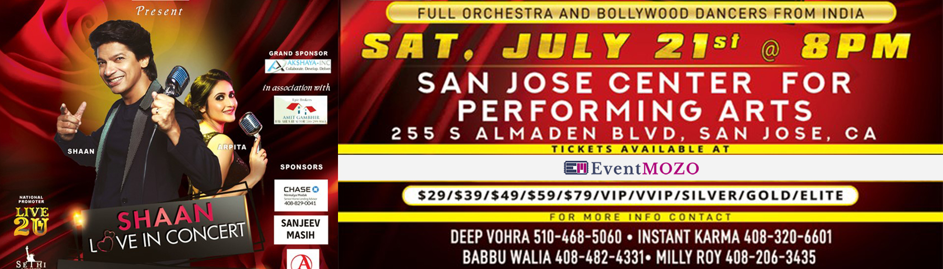 EventMozo Shaan LIVE In Concert - Bay Area