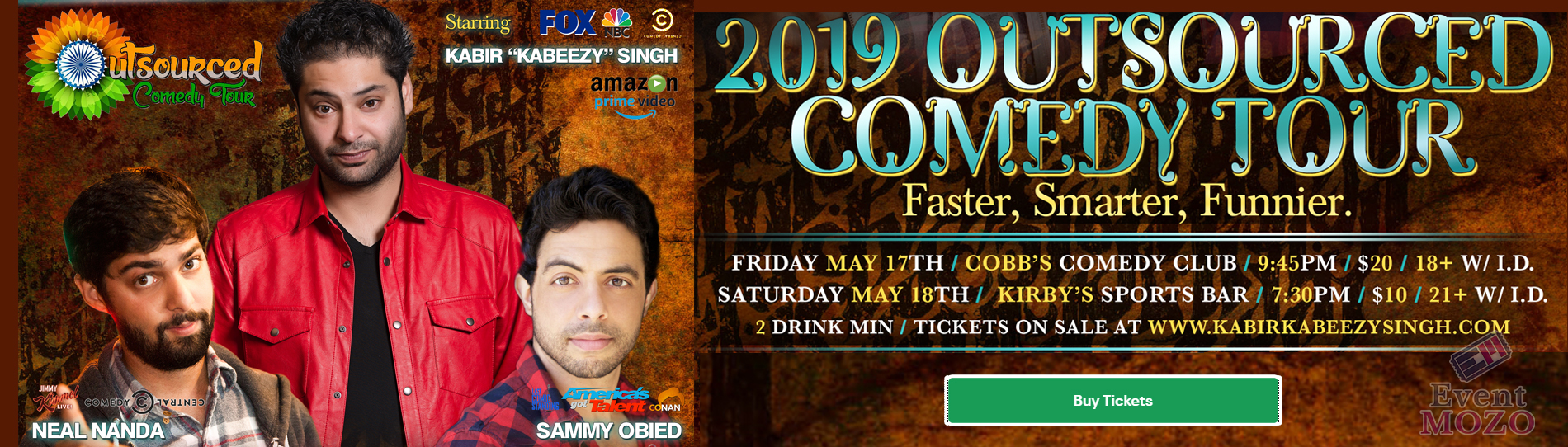 EventMozo 2019 Outsourced Comedy Tour with Kabir Singh and Neel Nanda.