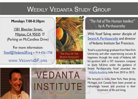 EventMozo FREE Weekly Class: The Fall of the Human Intellect by Vedanta Institute San Francisco in Milpitas